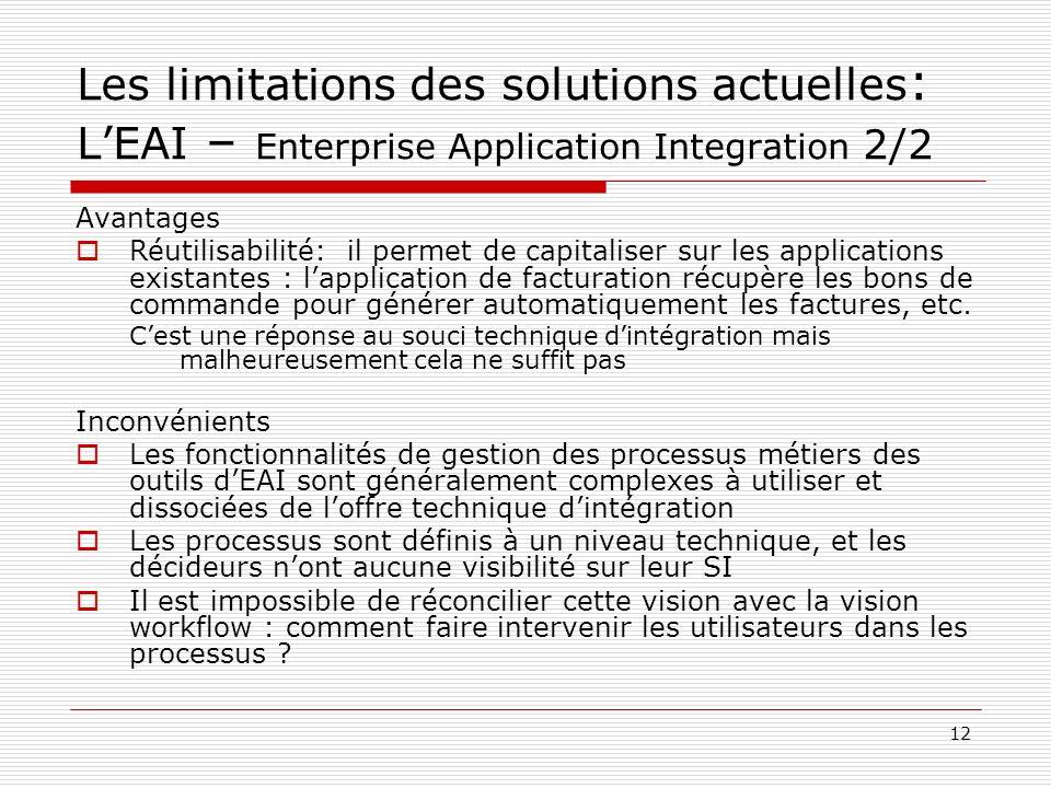 13 Les limitations des solutions actuelles: Le B2Bi – Business to Business integration Les outils de B2Bi visent à définir les processus de collaboration entre entreprises partenaires, partant du principe que les processus intra-entreprise, donc dEAI, nont pas les mêmes contraintes que les processus externalisés.
