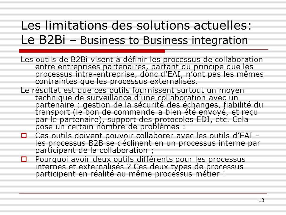 13 Les limitations des solutions actuelles: Le B2Bi – Business to Business integration Les outils de B2Bi visent à définir les processus de collaborat