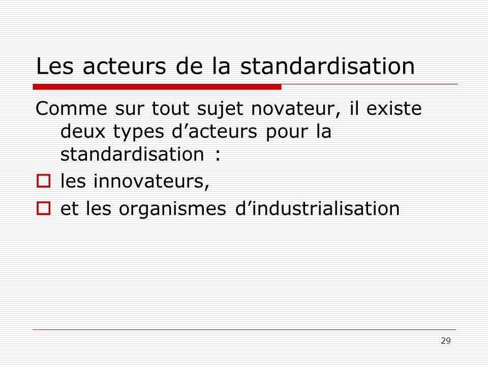 29 Les acteurs de la standardisation Comme sur tout sujet novateur, il existe deux types dacteurs pour la standardisation : les innovateurs, et les or