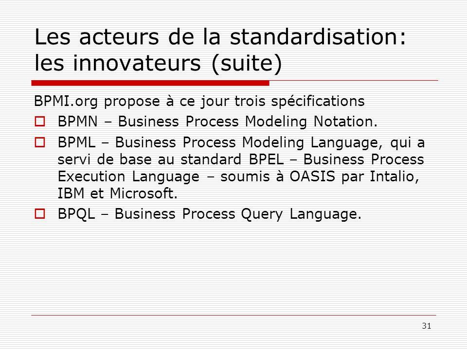 32 Les acteurs de la standardisation: les organismes dindustrialisation Une fois les spécifications stabilisées, leur viabilité dépend de leur adoption par les éditeurs, et par un organisme de standardisation indépendant.
