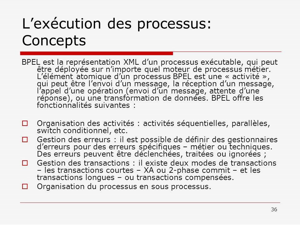 37 Lexécution des processus: Concepts (suite) Un processus BPEL définit, en XML, les activités réalisées dans le cadre de lexécution du processus métier.