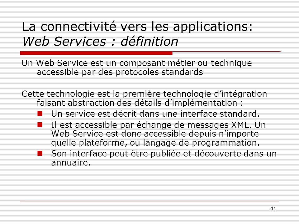 41 La connectivité vers les applications: Web Services : définition Un Web Service est un composant métier ou technique accessible par des protocoles