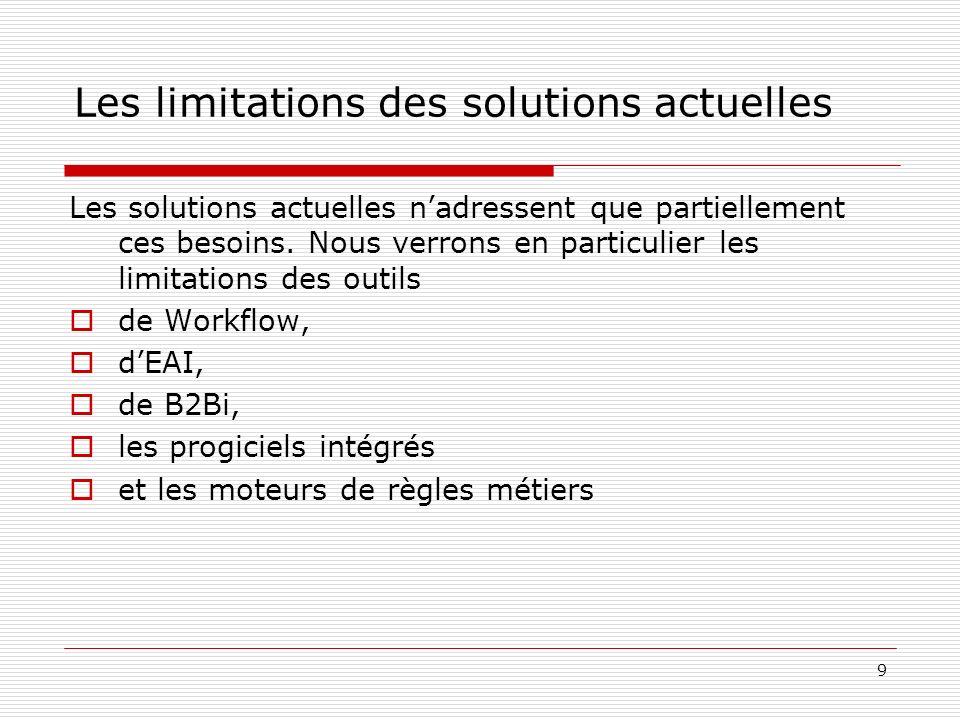 9 Les limitations des solutions actuelles Les solutions actuelles nadressent que partiellement ces besoins. Nous verrons en particulier les limitation
