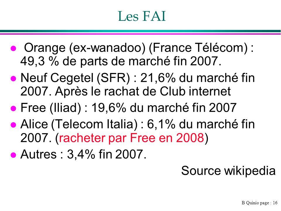 B Quinio page : 16 Les FAI l Orange (ex-wanadoo) (France Télécom) : 49,3 % de parts de marché fin 2007.