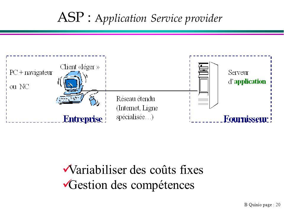 B Quinio page : 20 ASP : A pplication Service provider Variabiliser des coûts fixes Gestion des compétences