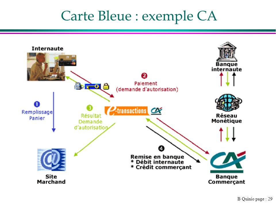 B Quinio page : 29 Carte Bleue : exemple CA