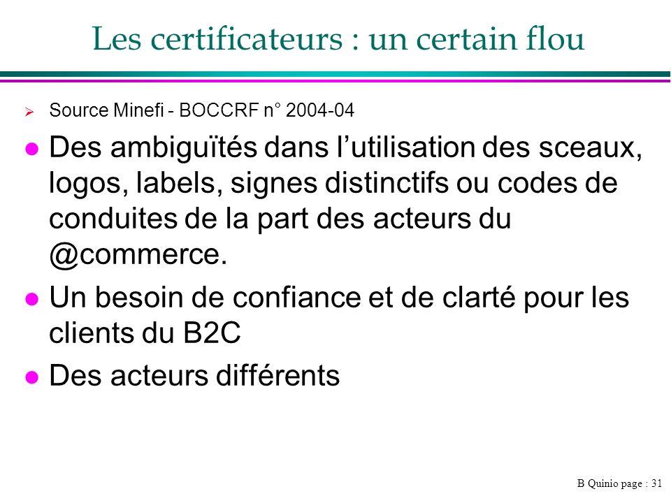 B Quinio page : 31 Les certificateurs : un certain flou Source Minefi - BOCCRF n° 2004-04 l Des ambiguïtés dans lutilisation des sceaux, logos, labels, signes distinctifs ou codes de conduites de la part des acteurs du @commerce.