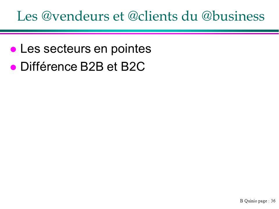 B Quinio page : 36 Les @vendeurs et @clients du @business l Les secteurs en pointes l Différence B2B et B2C