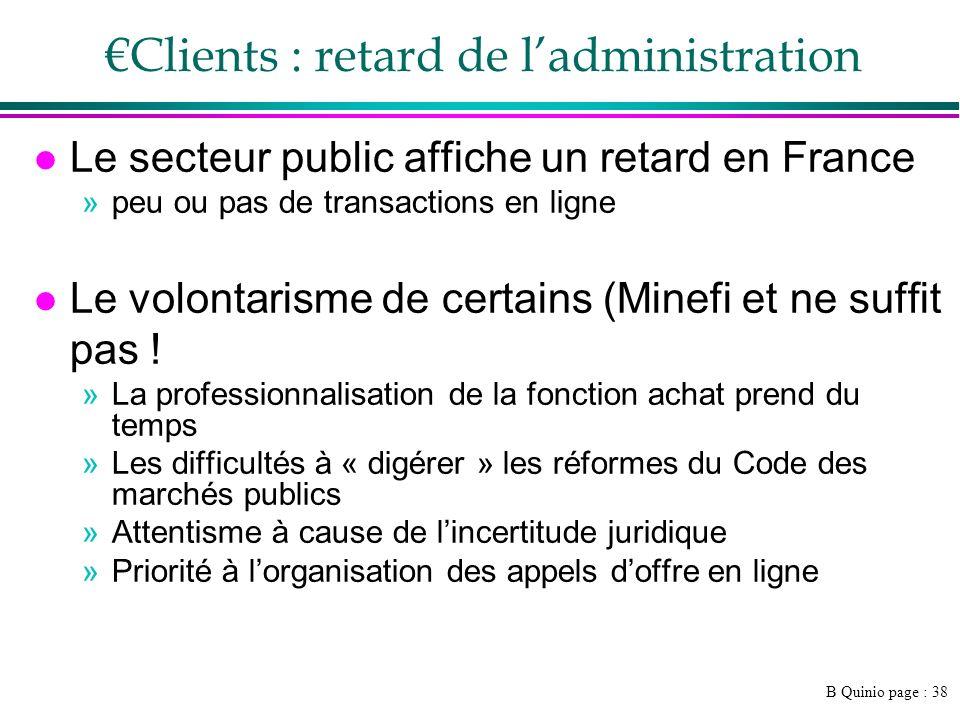 B Quinio page : 38 Clients : retard de ladministration l Le secteur public affiche un retard en France »peu ou pas de transactions en ligne l Le volontarisme de certains (Minefi et ne suffit pas .