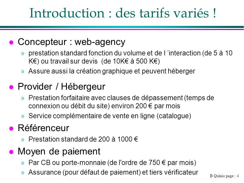 B Quinio page : 4 Introduction : des tarifs variés .