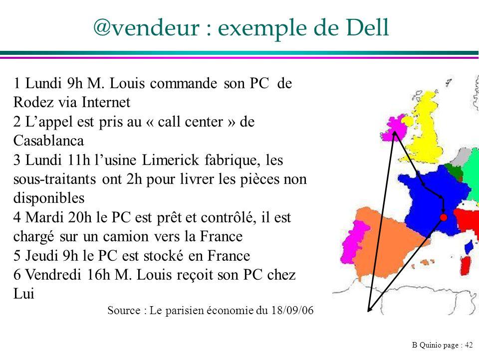 B Quinio page : 42 @vendeur : exemple de Dell 1 Lundi 9h M.