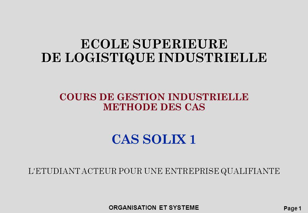Page 2 ECOLE SUPERIEURE DE LOGISTIQUE INDUSTRIELLE ORGANISATION ET SYSTEME CAS SOLIX 1 1 PRESENTATION 2ANALYSE 3RECHERCHE DES SOLUTIONS 4PRESENTATION DE LA SOLUTION APPLIQUEE 5 SYNTHESE DU CAS TRAITE
