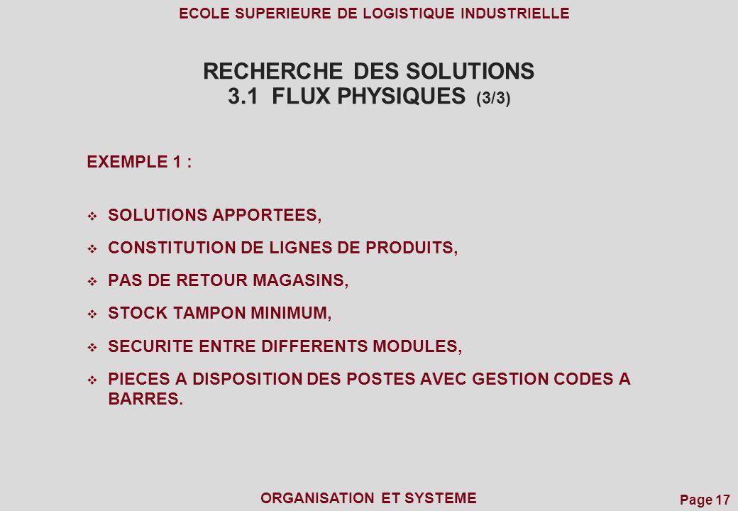 Page 17 ECOLE SUPERIEURE DE LOGISTIQUE INDUSTRIELLE ORGANISATION ET SYSTEME RECHERCHE DES SOLUTIONS 3.1 FLUX PHYSIQUES (3/3) EXEMPLE 1 : SOLUTIONS APP