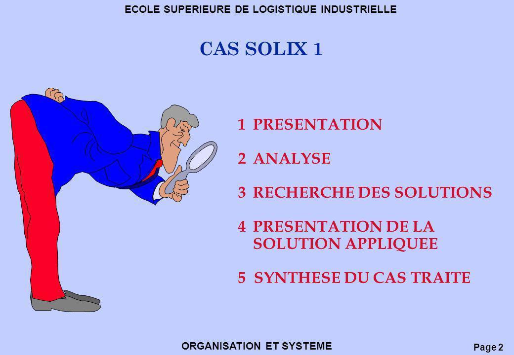 Page 2 ECOLE SUPERIEURE DE LOGISTIQUE INDUSTRIELLE ORGANISATION ET SYSTEME CAS SOLIX 1 1 PRESENTATION 2ANALYSE 3RECHERCHE DES SOLUTIONS 4PRESENTATION