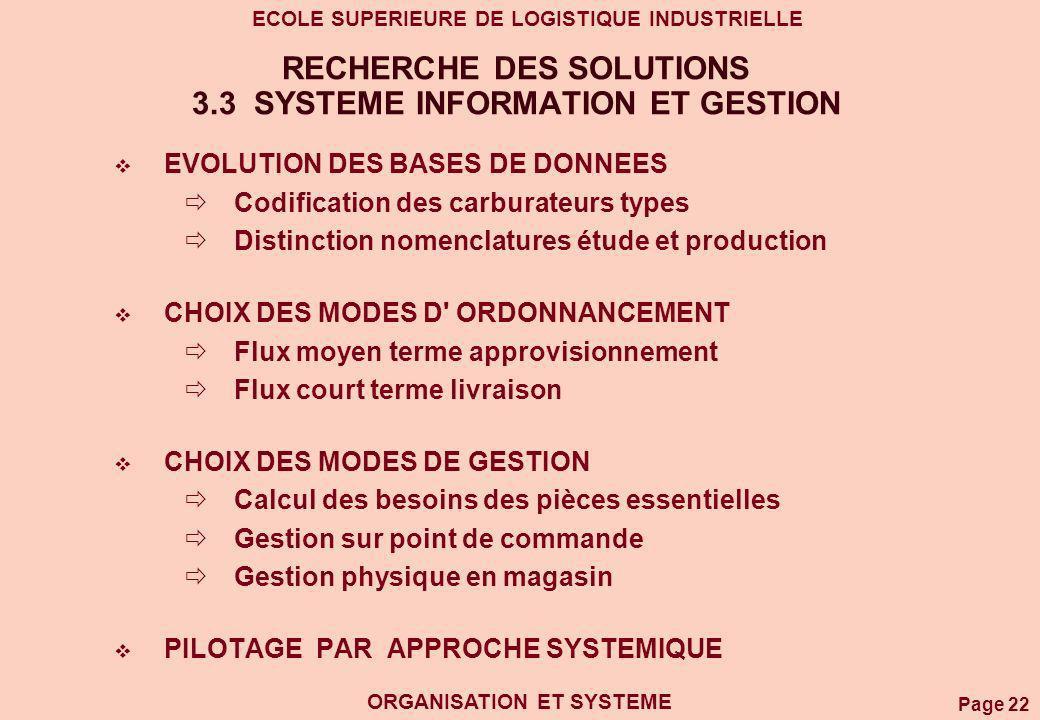 Page 22 ECOLE SUPERIEURE DE LOGISTIQUE INDUSTRIELLE ORGANISATION ET SYSTEME RECHERCHE DES SOLUTIONS 3.3 SYSTEME INFORMATION ET GESTION EVOLUTION DES B