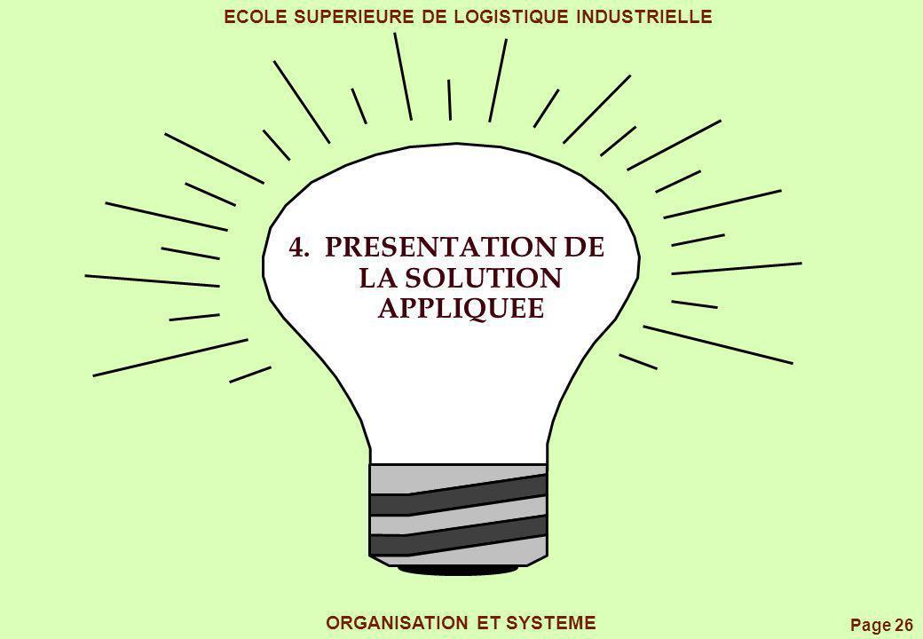 Page 26 ECOLE SUPERIEURE DE LOGISTIQUE INDUSTRIELLE ORGANISATION ET SYSTEME 4. PRESENTATION DE LA SOLUTION APPLIQUEE