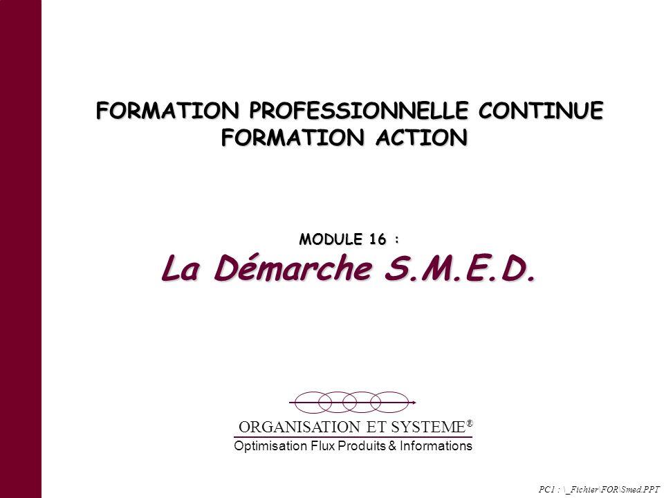 Optimisation Flux Produits & Informations ORGANISATION ET SYSTEME ® FORMATION PROFESSIONNELLE CONTINUE FORMATION ACTION MODULE 16 : La Démarche S.M.E.D.