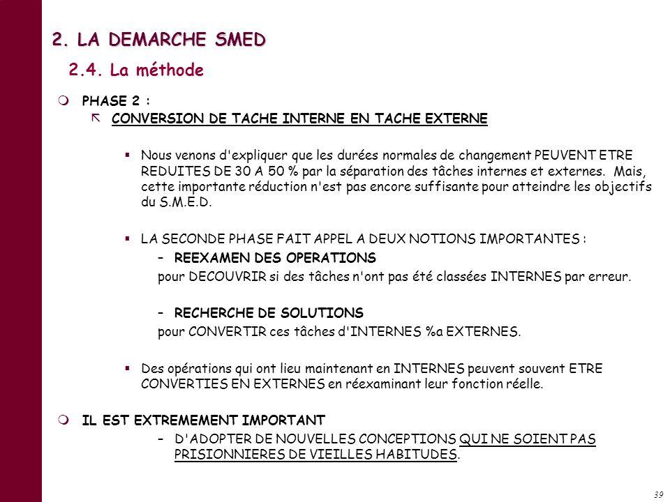 38 PHASE 0 : IDENTIFICATION DES TACHES Enregistrer la chronologie exacte, aléas compris, du déroulement des opérations liées au changement de référenc
