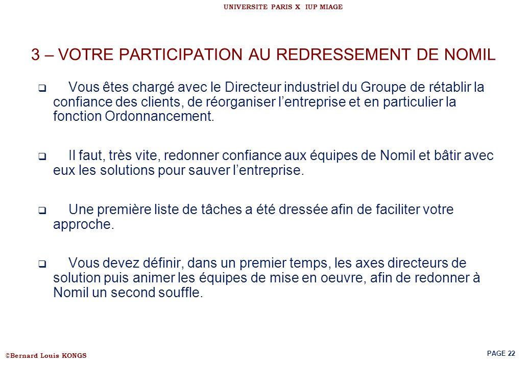 © Bernard Louis KONGS UNIVERSITE PARIS X IUP MIAGE PAGE 22 3 – VOTRE PARTICIPATION AU REDRESSEMENT DE NOMIL Vous êtes chargé avec le Directeur industr