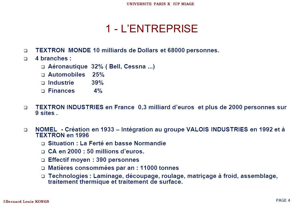 © Bernard Louis KONGS UNIVERSITE PARIS X IUP MIAGE PAGE 4 1 - LENTREPRISE TEXTRON MONDE 10 milliards de Dollars et 68000 personnes. 4 branches : Aéron