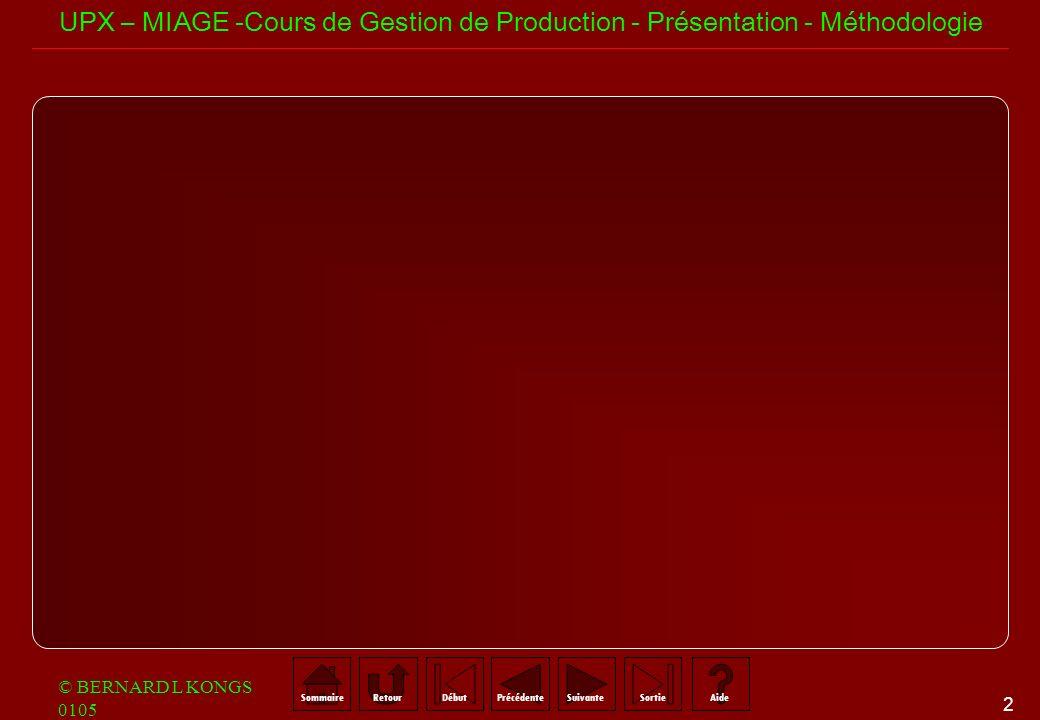 2 SommaireRetourSuivantePrécédenteAideSortieDébut UPX – MIAGE -Cours de Gestion de Production - Présentation - Méthodologie © BERNARD L KONGS 0105