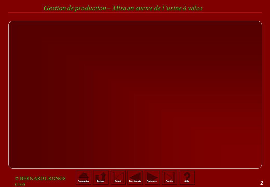 12 SommaireRetourSuivantePrécédenteAideSortieDébut Gestion de production – Mise en œuvre de lusine à vélos © BERNARD L KONGS 0105 Démarche systémique : L APPROCHE SYSTEMIQUE A POUR OBJET LETUDE DES SYSTEMES DANS UN SENS LARGE DEFINITION GLOBALE DES INFORMATIONS ET SA CONFRONTATION AVEC DES VISIONS PLUS LOCALES, CELLES DES ACTEURS DU SYSTEME.