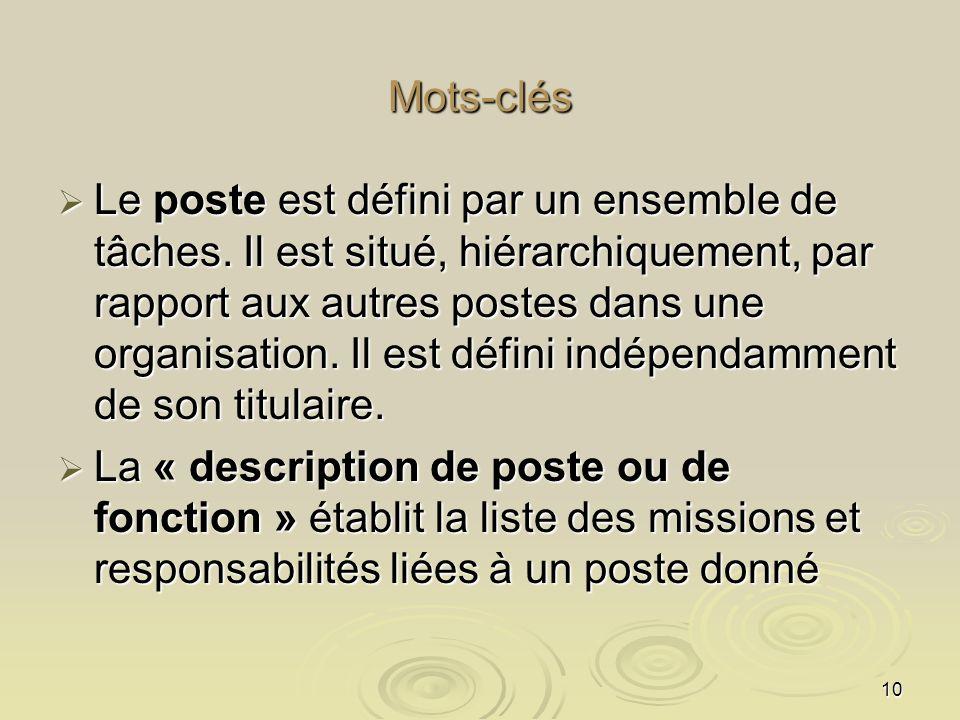 10 Mots-clés Le poste est défini par un ensemble de tâches. Il est situé, hiérarchiquement, par rapport aux autres postes dans une organisation. Il es