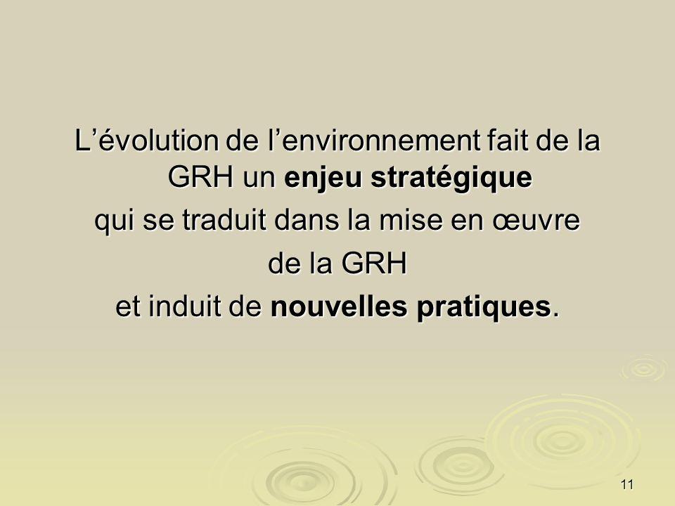 11 Lévolution de lenvironnement fait de la GRH un enjeu stratégique qui se traduit dans la mise en œuvre de la GRH et induit de nouvelles pratiques.