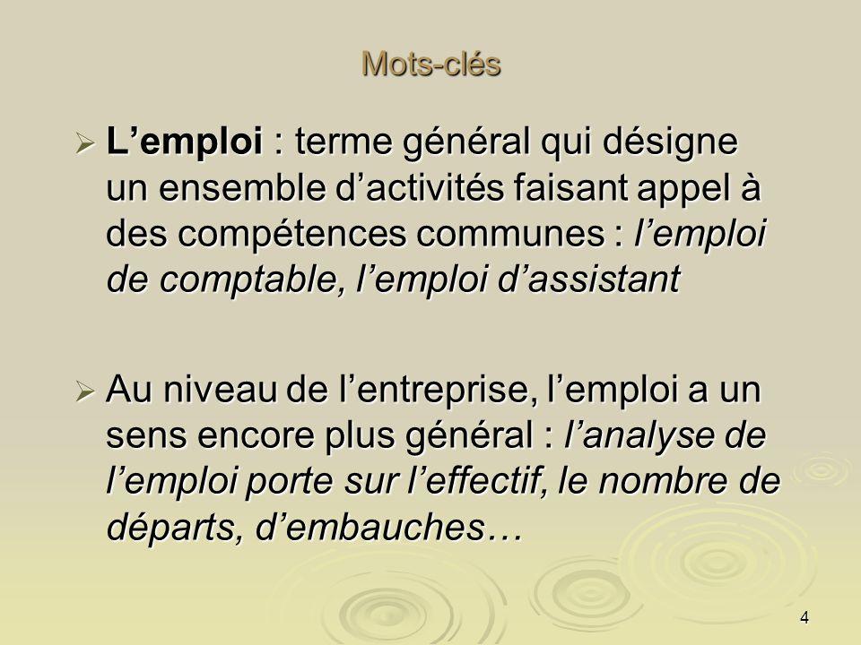 4 Mots-clés Lemploi : terme général qui désigne un ensemble dactivités faisant appel à des compétences communes : lemploi de comptable, lemploi dassis