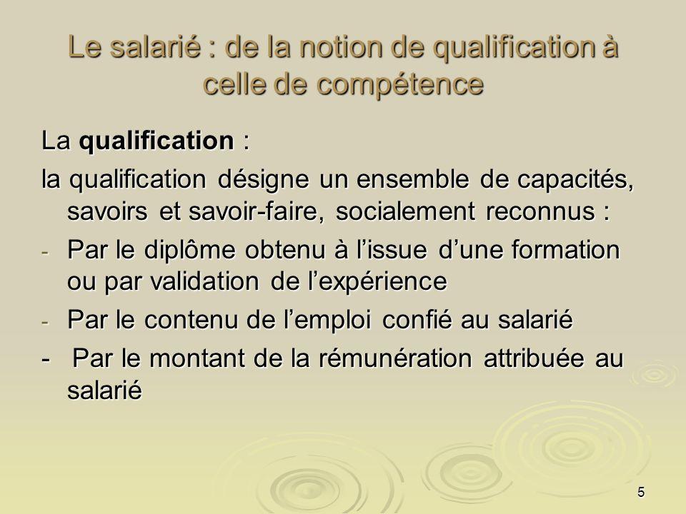 5 Le salarié : de la notion de qualification à celle de compétence La qualification : la qualification désigne un ensemble de capacités, savoirs et sa