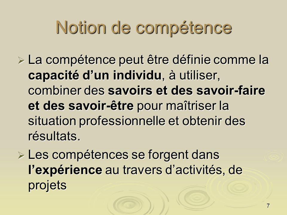 7 Notion de compétence La compétence peut être définie comme la capacité dun individu, à utiliser, combiner des savoirs et des savoir-faire et des sav