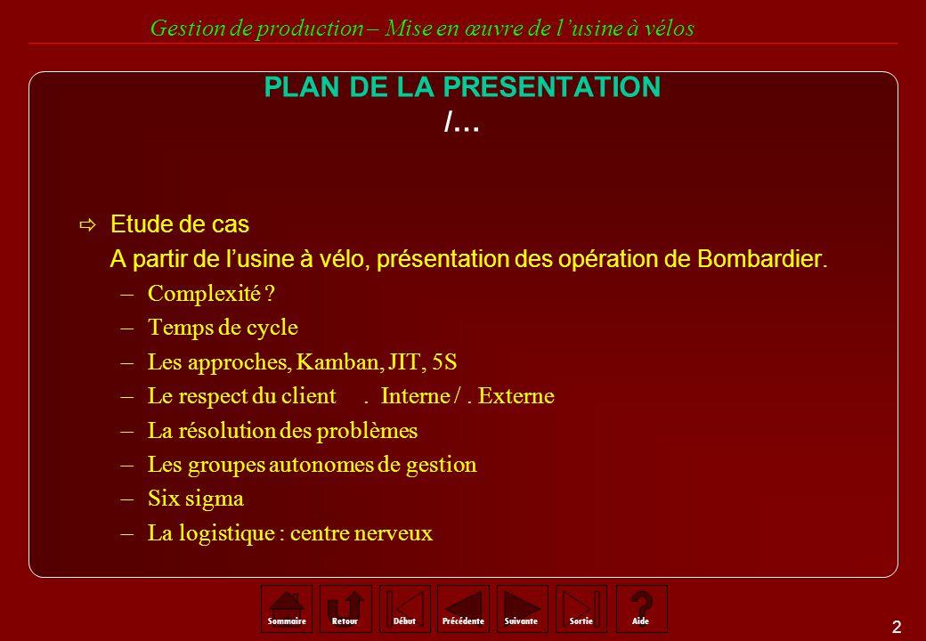3 SommaireRetourSuivantePrécédenteAideSortieDébut Gestion de production – Mise en œuvre de lusine à vélos RAPPEL SUR LUSINE A VELOS