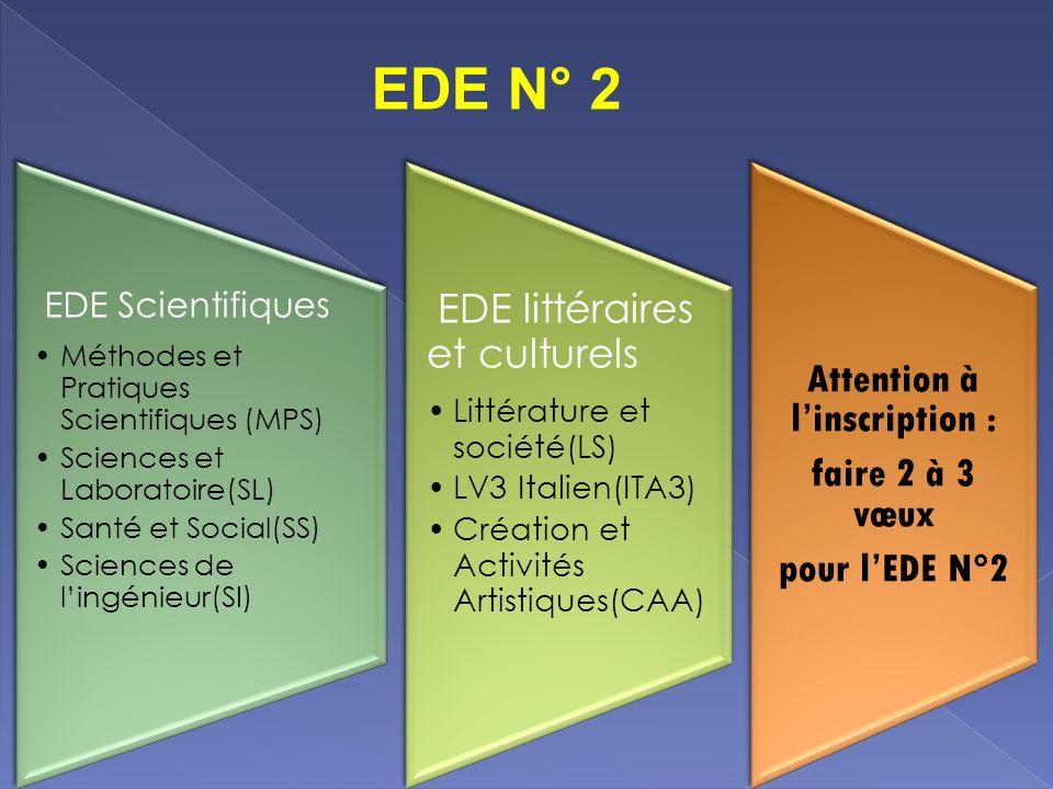 EDE Scientifiques Méthodes et Pratiques Scientifiques (MPS) Sciences et Laboratoire(SL) Santé et Social(SS) Sciences de lingénieur(SI) EDE littéraires