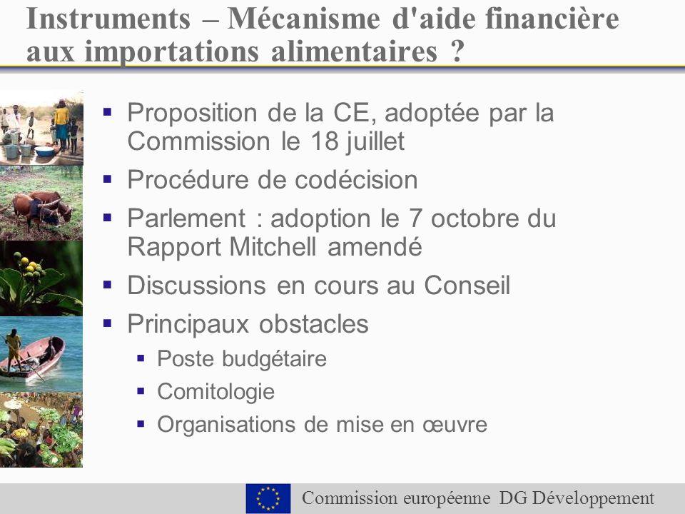 Commission européenne DG Développement Instruments – Mécanisme d aide financière aux importations alimentaires .