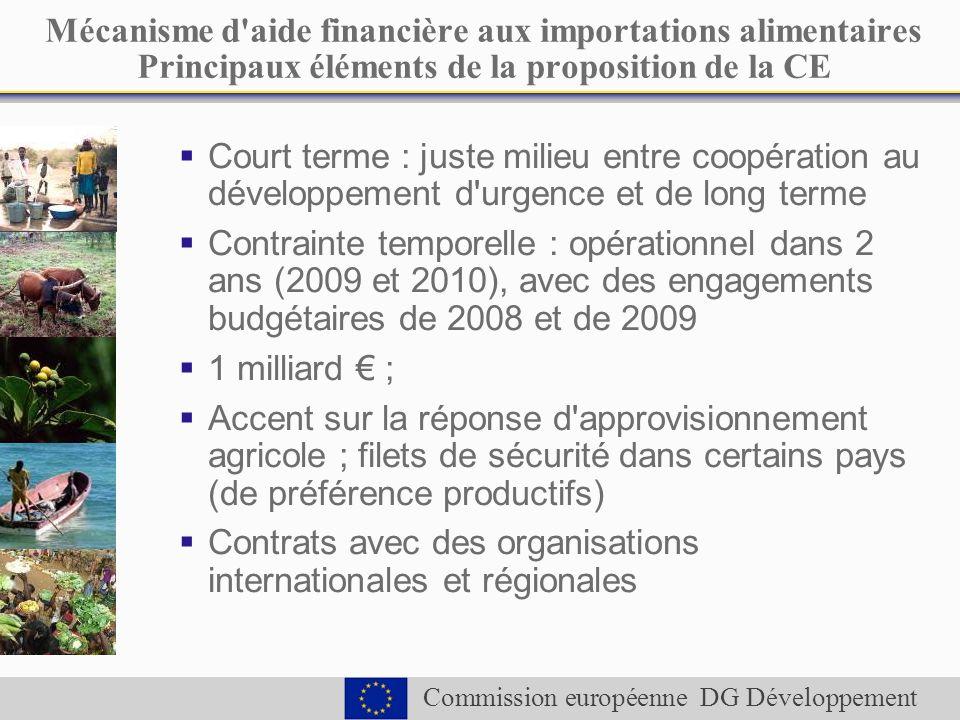 Commission européenne DG Développement Mécanisme d aide financière aux importations alimentaires Principaux éléments de la proposition de la CE Court terme : juste milieu entre coopération au développement d urgence et de long terme Contrainte temporelle : opérationnel dans 2 ans (2009 et 2010), avec des engagements budgétaires de 2008 et de 2009 1 milliard ; Accent sur la réponse d approvisionnement agricole ; filets de sécurité dans certains pays (de préférence productifs) Contrats avec des organisations internationales et régionales
