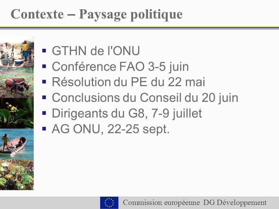 Commission européenne DG Développement Contexte – Paysage politique GTHN de l ONU Conférence FAO 3-5 juin Résolution du PE du 22 mai Conclusions du Conseil du 20 juin Dirigeants du G8, 7-9 juillet AG ONU, 22-25 sept.