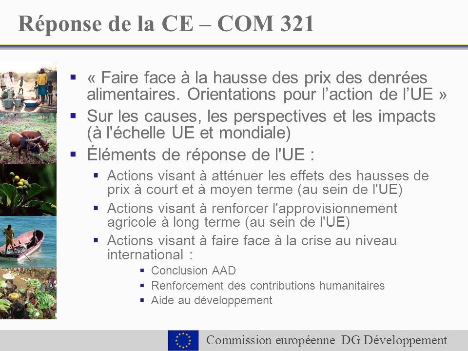 Commission européenne DG Développement Réponse de la CE – COM 321 « Faire face à la hausse des prix des denrées alimentaires.