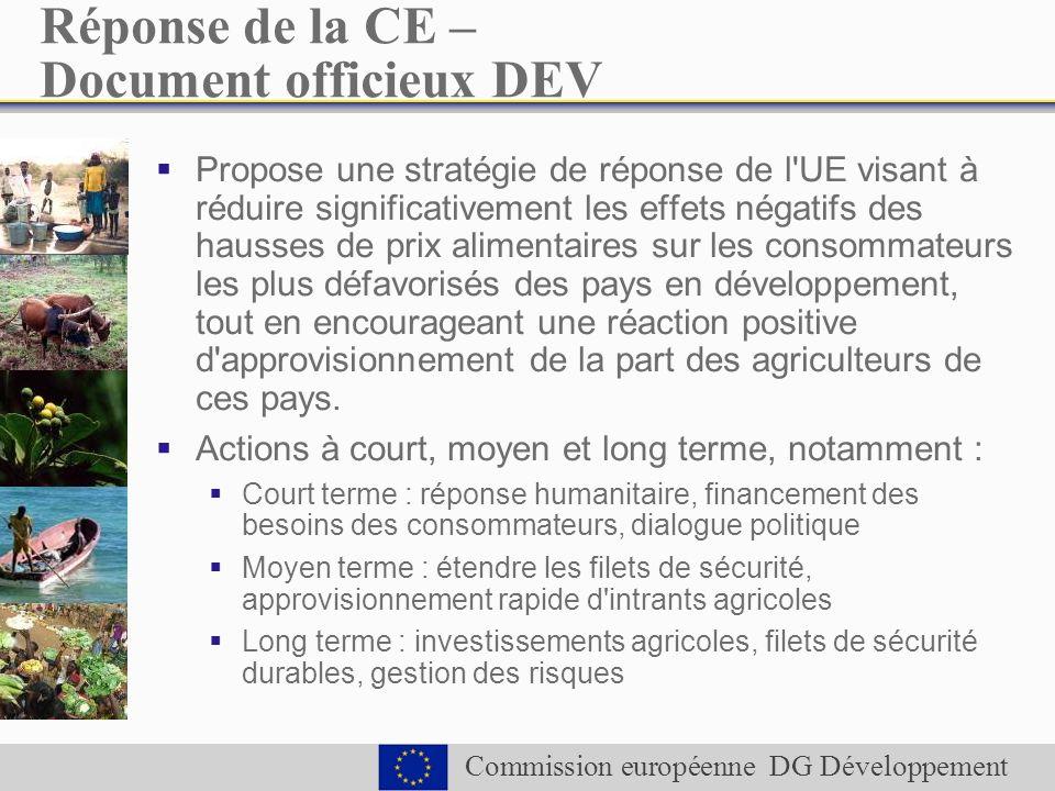 Commission européenne DG Développement Réponse de la CE – Document officieux DEV Propose une stratégie de réponse de l UE visant à réduire significativement les effets négatifs des hausses de prix alimentaires sur les consommateurs les plus défavorisés des pays en développement, tout en encourageant une réaction positive d approvisionnement de la part des agriculteurs de ces pays.