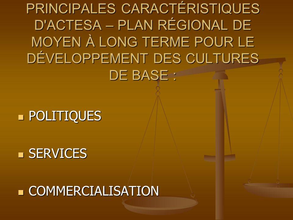 PRINCIPALES CARACTÉRISTIQUES D ACTESA – PLAN RÉGIONAL DE MOYEN À LONG TERME POUR LE DÉVELOPPEMENT DES CULTURES DE BASE : POLITIQUES POLITIQUES SERVICES SERVICES COMMERCIALISATION COMMERCIALISATION
