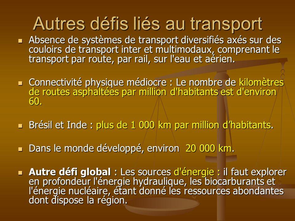Autres défis liés au transport Absence de systèmes de transport diversifiés axés sur des couloirs de transport inter et multimodaux, comprenant le transport par route, par rail, sur l eau et aérien.