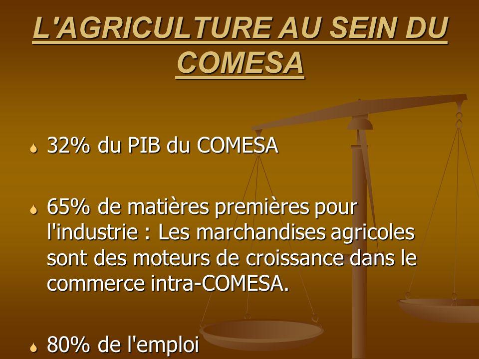 RÉPONSES DU COMESA FACTEURS ACCÉLÉRANTS DE L INTÉGRATION RÉGIONALE : ZONE DE LIBRE ÉCHANGE ; UNION DOUANIÈRE (2008) FACTEURS ACCÉLÉRANTS DE L INTÉGRATION RÉGIONALE : ZONE DE LIBRE ÉCHANGE ; UNION DOUANIÈRE (2008) CAADP : APPROCHE EN 4 PILIERS POUR UN DÉVELOPPEMENT AGRICOLE COMPLET (Sol/eau, marchés/infr., tech.) CAADP : APPROCHE EN 4 PILIERS POUR UN DÉVELOPPEMENT AGRICOLE COMPLET (Sol/eau, marchés/infr., tech.) ACTIONS SPÉCIFIQUES DE LUTTE CONTRE LA CRISE DES PRIX ALIMENTAIRES : ACTIONS SPÉCIFIQUES DE LUTTE CONTRE LA CRISE DES PRIX ALIMENTAIRES : (i) PLAN RÉGIONAL CONJOINT : (i) Approvisionnement en intrants pour accélérer la production de marchandises alimentaires - similaire à la réponse du NEPAD (ii) Meilleure gestion des risques et analyse de la vulnérabilité et (iii) Meilleur accès au marché régional et facilitation du commerce des cultures de base.
