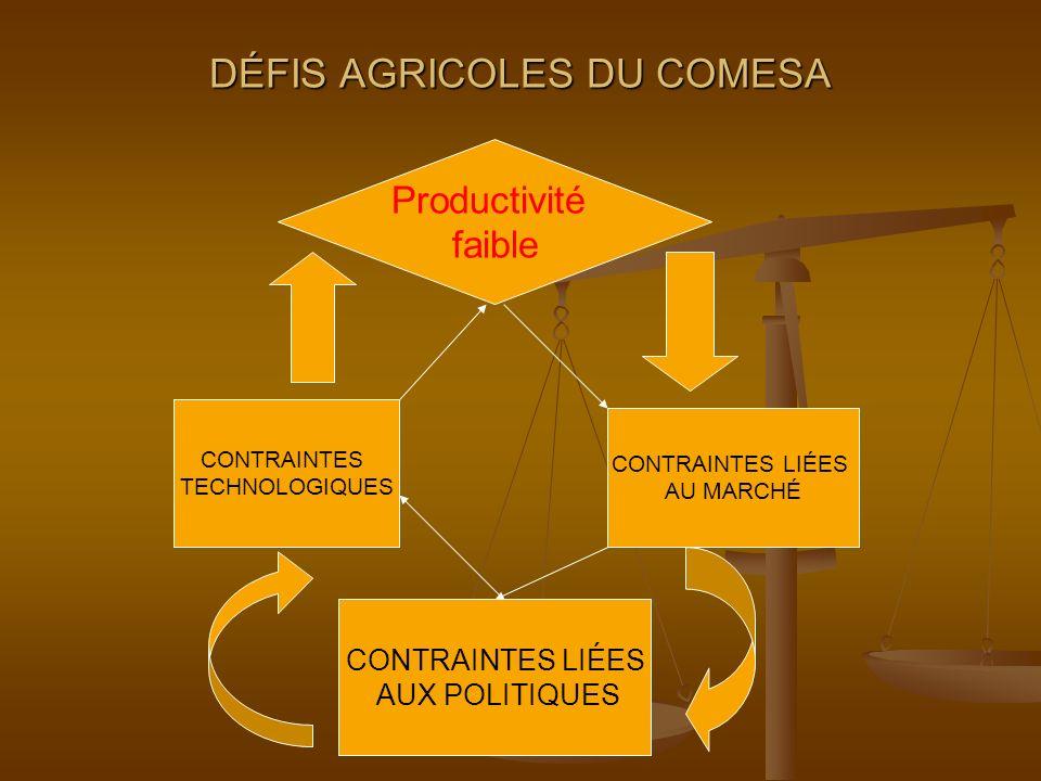 DÉFIS AGRICOLES DU COMESA CONTRAINTES TECHNOLOGIQUES CONTRAINTES LIÉES AU MARCHÉ CONTRAINTES LIÉES AUX POLITIQUES Productivité faible