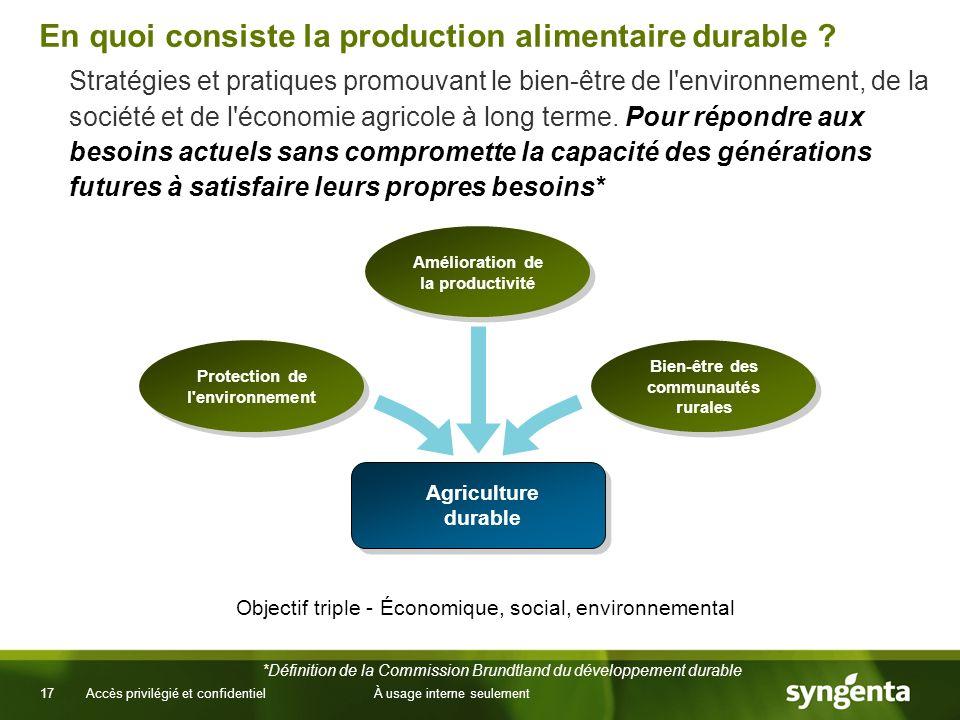 17 Accès privilégié et confidentielÀ usage interne seulement En quoi consiste la production alimentaire durable ? Stratégies et pratiques promouvant l