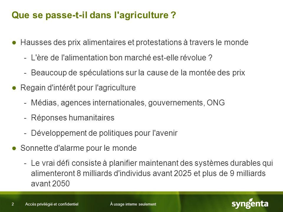2 Accès privilégié et confidentielÀ usage interne seulement Que se passe-t-il dans l agriculture .