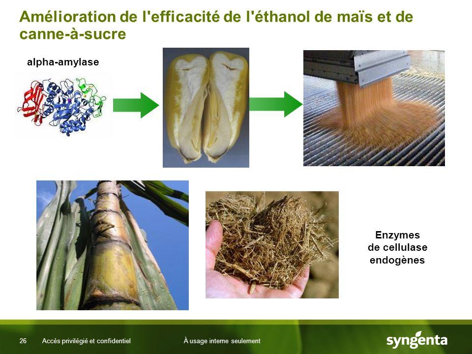 26 Accès privilégié et confidentielÀ usage interne seulement Amélioration de l efficacité de l éthanol de maïs et de canne-à-sucre alpha-amylase Enzymes de cellulase endogènes