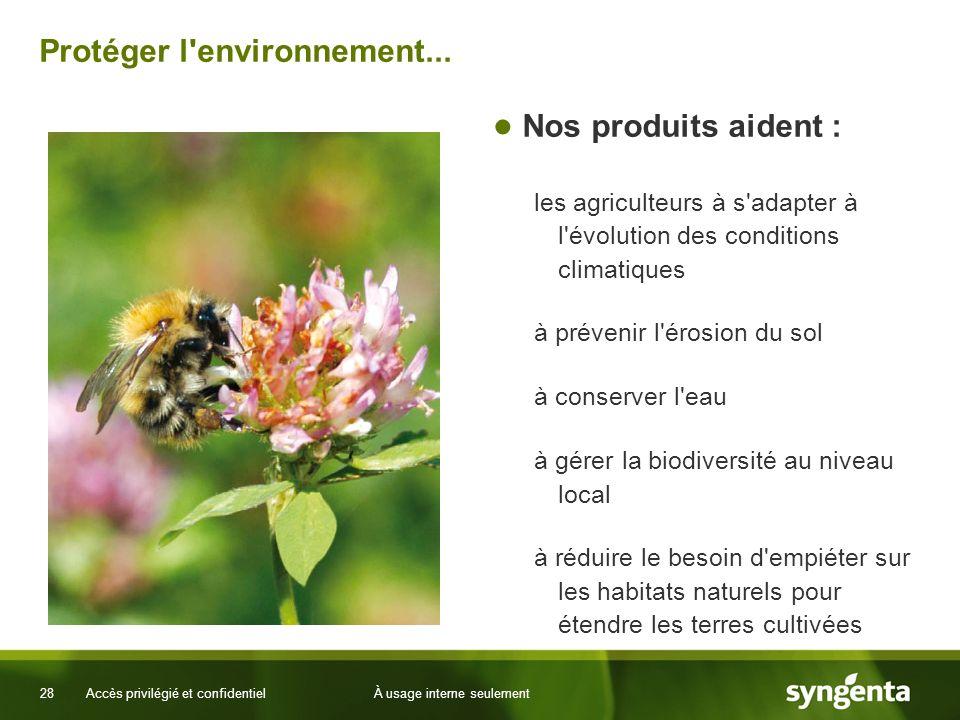 28 Accès privilégié et confidentielÀ usage interne seulement Protéger l'environnement... Nos produits aident : les agriculteurs à s'adapter à l'évolut