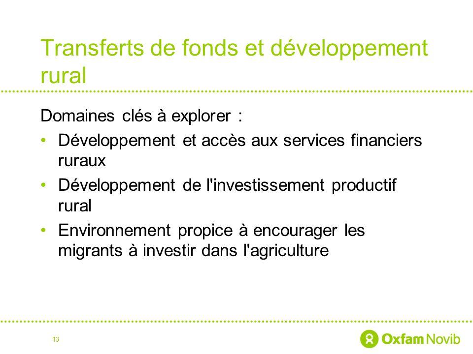 Transferts de fonds et développement rural Domaines clés à explorer : Développement et accès aux services financiers ruraux Développement de l investissement productif rural Environnement propice à encourager les migrants à investir dans l agriculture 13