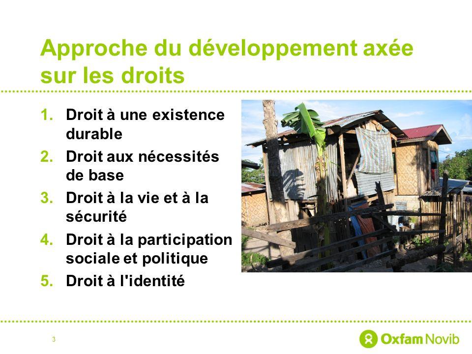 Approche du développement axée sur les droits 1.Droit à une existence durable 2.Droit aux nécessités de base 3.Droit à la vie et à la sécurité 4.Droit à la participation sociale et politique 5.Droit à l identité 3