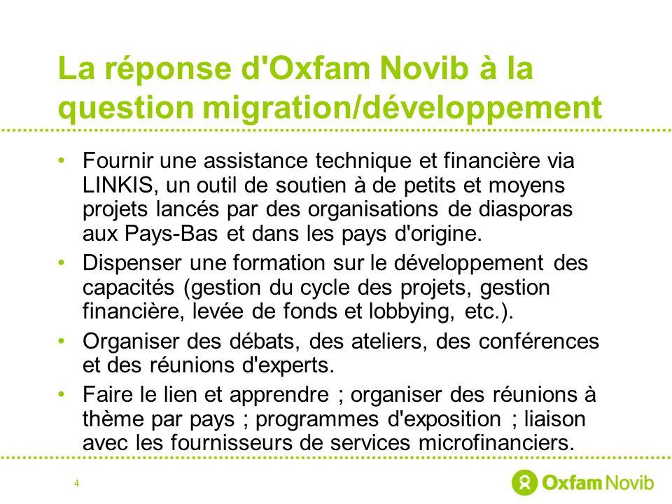 La réponse d Oxfam Novib à la question migration/développement Fournir une assistance technique et financière via LINKIS, un outil de soutien à de petits et moyens projets lancés par des organisations de diasporas aux Pays-Bas et dans les pays d origine.