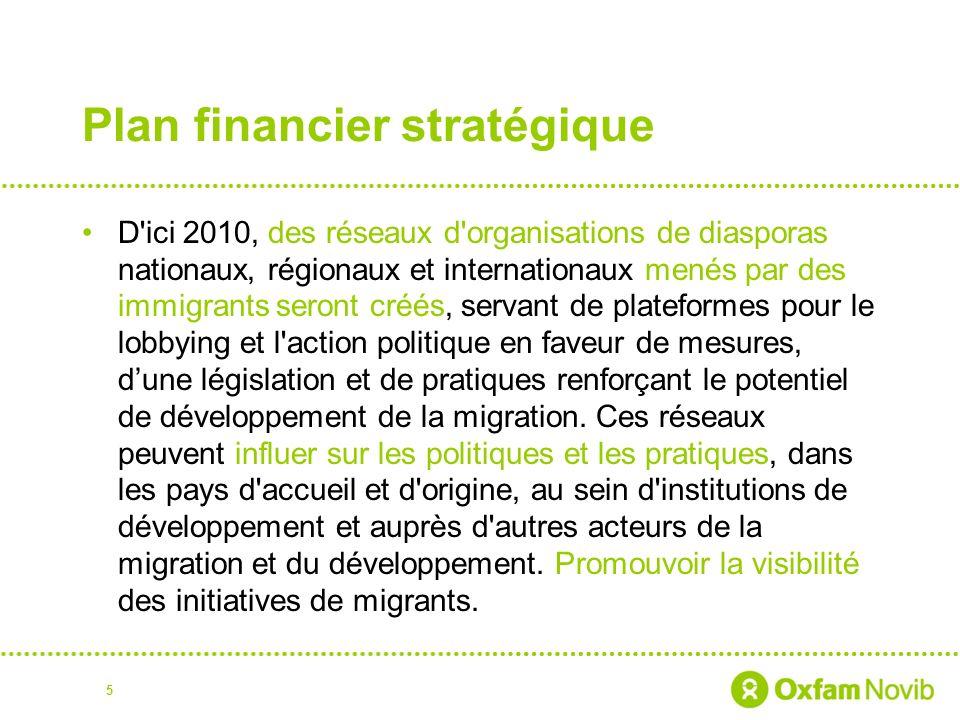 Plan financier stratégique D ici 2010, des réseaux d organisations de diasporas nationaux, régionaux et internationaux menés par des immigrants seront créés, servant de plateformes pour le lobbying et l action politique en faveur de mesures, dune législation et de pratiques renforçant le potentiel de développement de la migration.